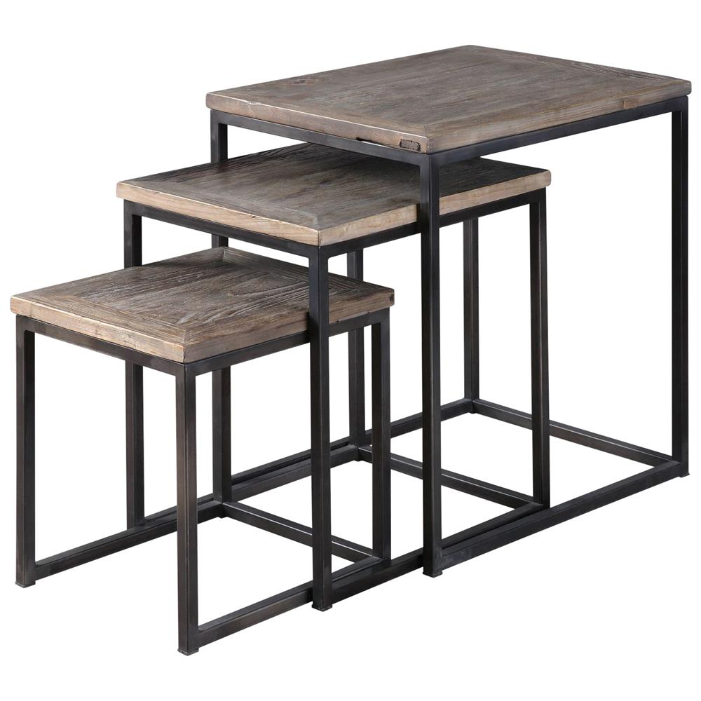 Macon Rustic Industrial Iron Elm Nesting Tables   Set Of 3 | Kathy Kuo Home