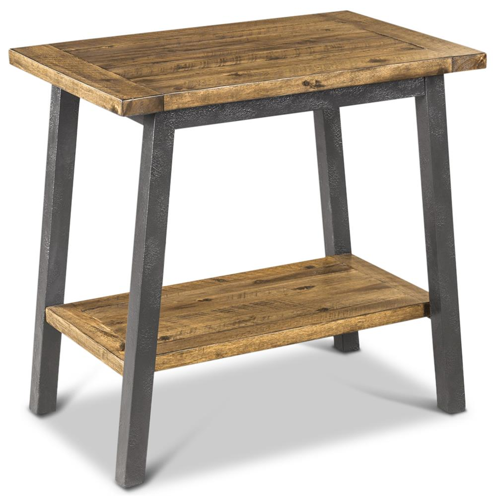 Tanner rustic lodge iron frame wood side table kathy kuo for Iron and wood side table