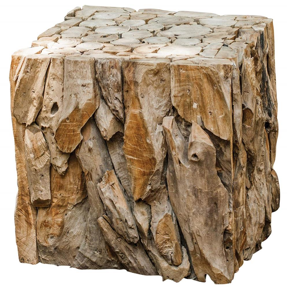 Sagamore rustic lodge reclaimed teak wood cube end table for Rustic wood accent tables