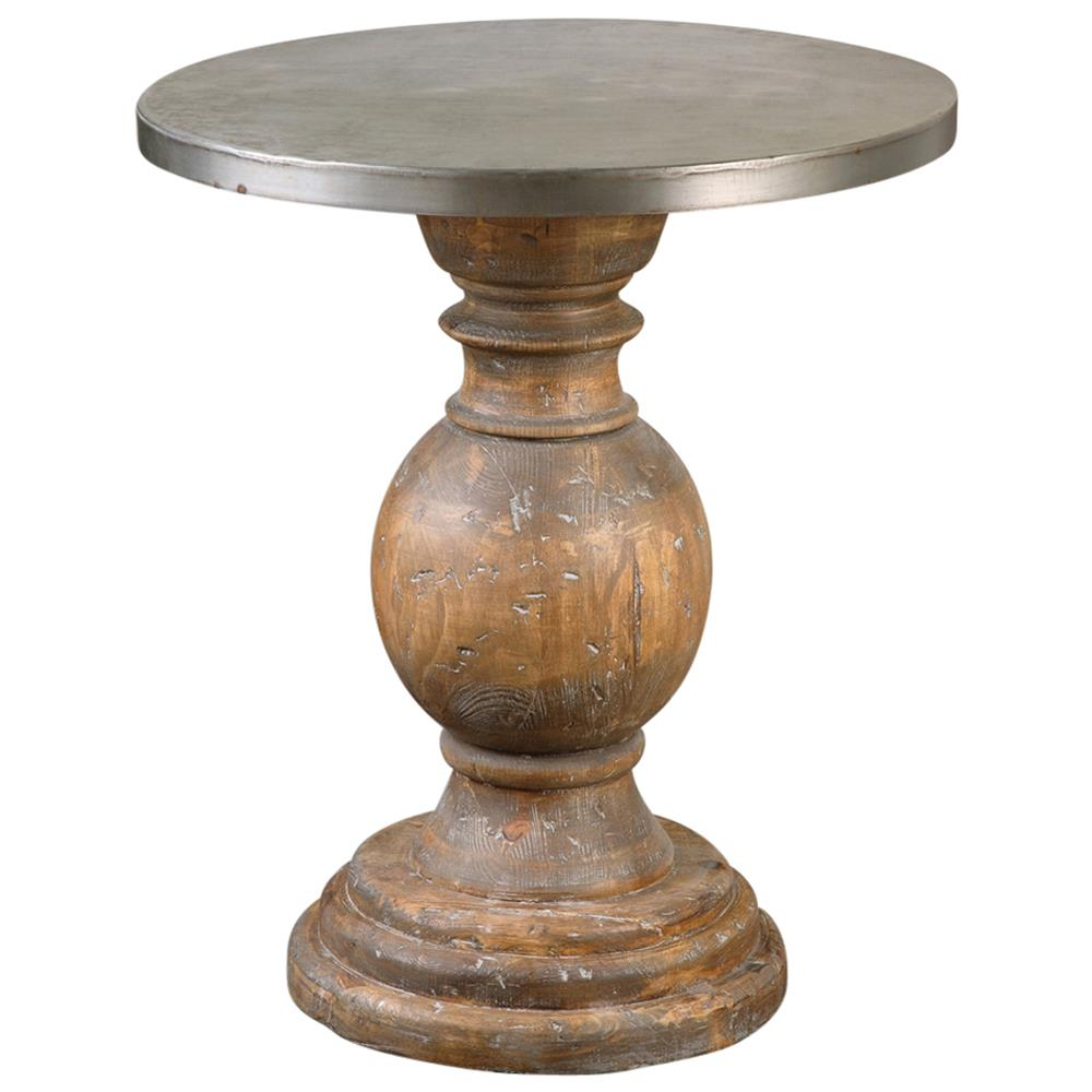 Colt Industrial Loft Rustic Aluminum Pedestal Side Table