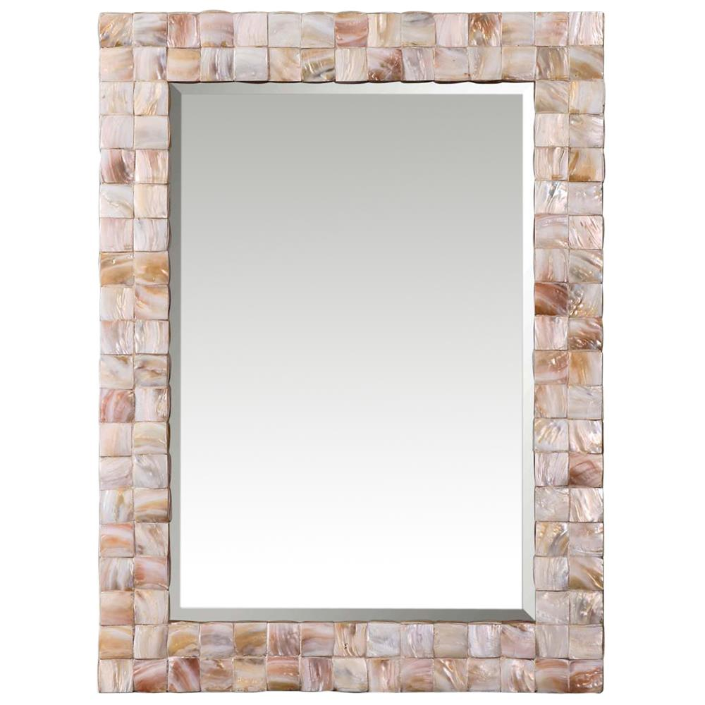 June Coastal Beach Pink Mother Of Pearl Framed Mirror