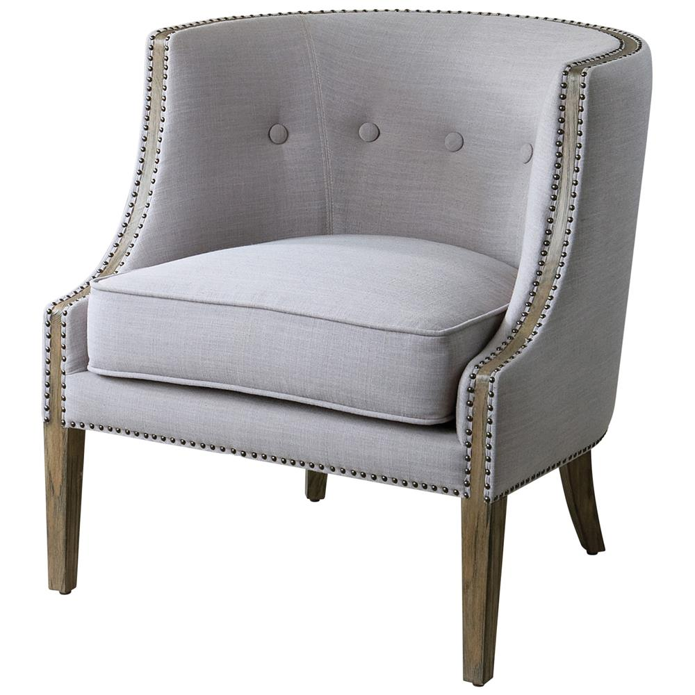 Lyla modern classic soft grey hammered barrel back chair for Classic home chairs