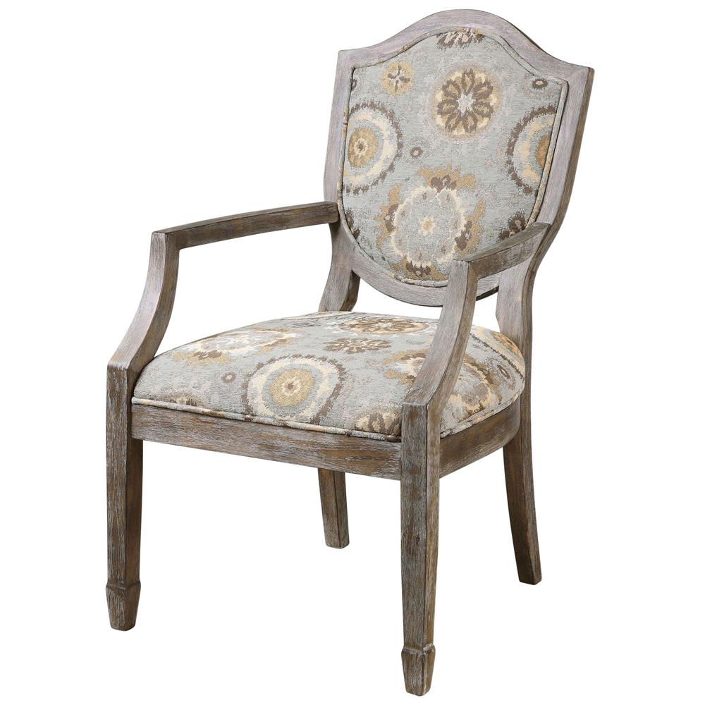Alita French Country Soft Blue Rustic Floral Birch Arm Chair