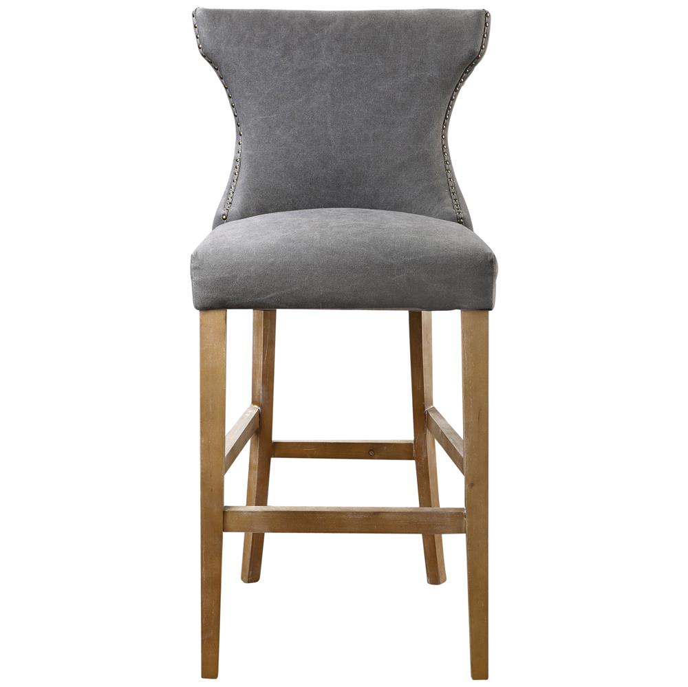 Grover Coastal Beach Grey Linen Wing Back Counter Stool