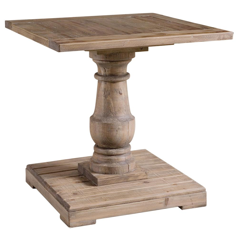 Gamble rustic lodge salvaged fir stone wash pedestal end for Pedestal table