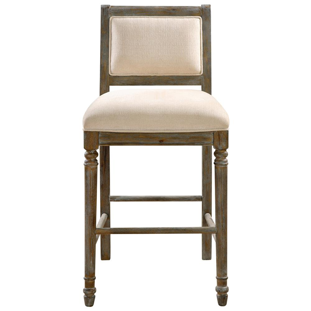 Celeste French Country Ivory Chenille Rustic Wood Bar Stool