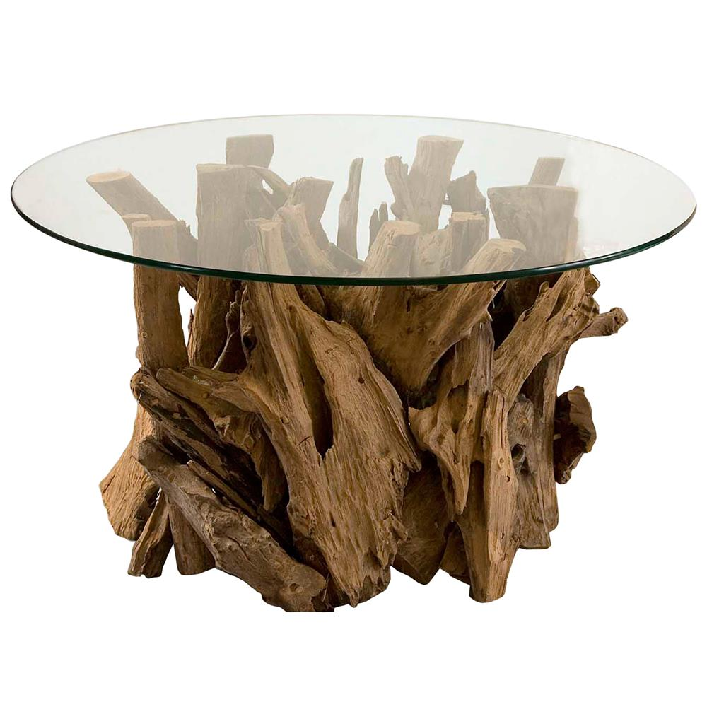 Plymouth Coastal Beach Teak Driftwood Round Glass Coffee Table