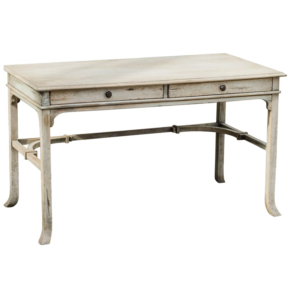 Candide French Country Antique White Wood Writing Desk | Kathy Kuo Home - Candide French Country Antique White Wood Writing Desk Kathy Kuo