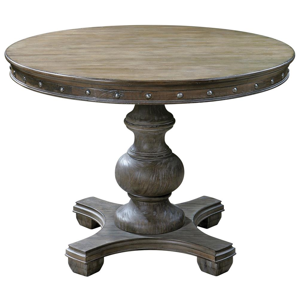 marius french country round wood silver stud dining table kathy kuo home - Dining Table Round Wood
