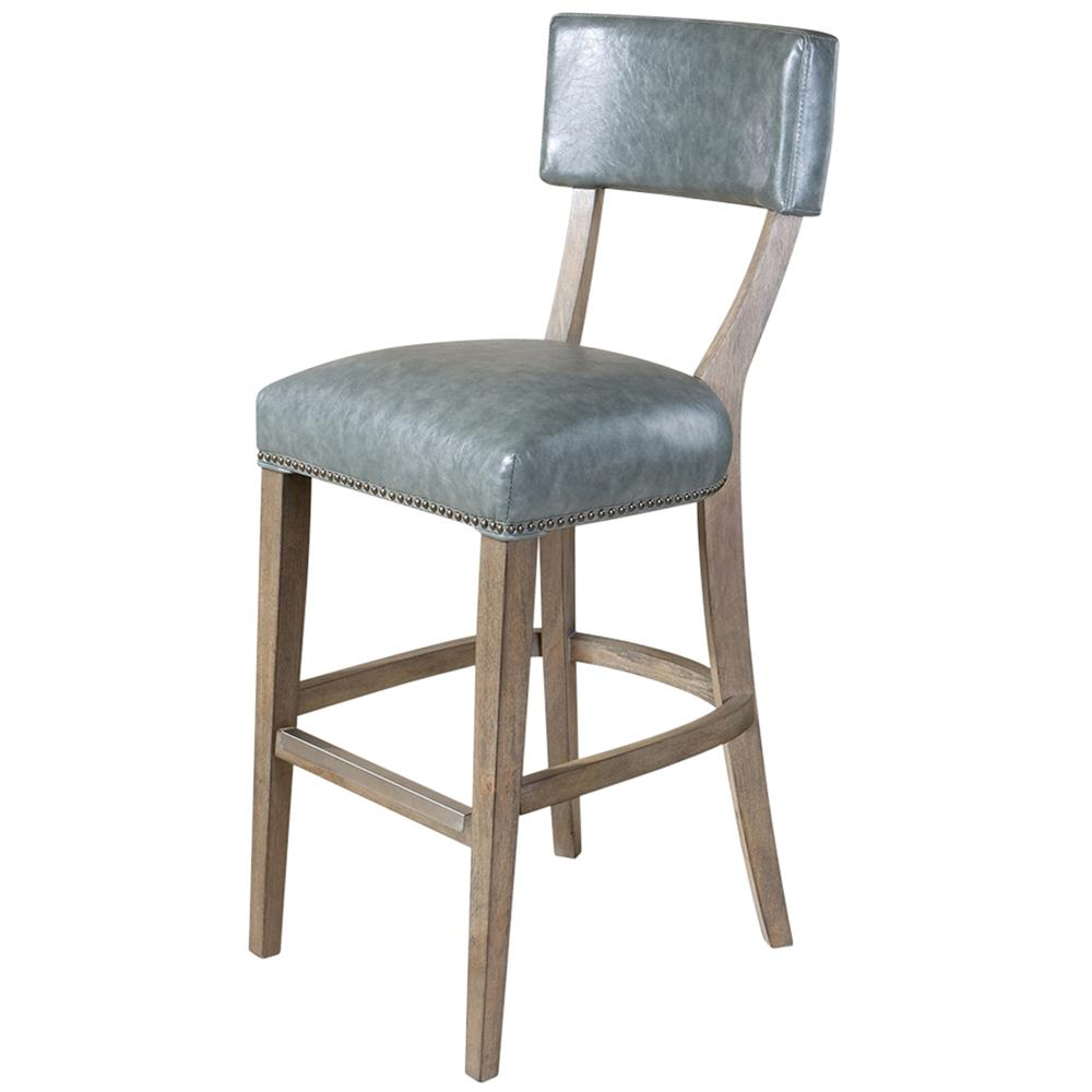 Louise French Country Grey Faux Leather Bar Stool Kathy Kuo Home