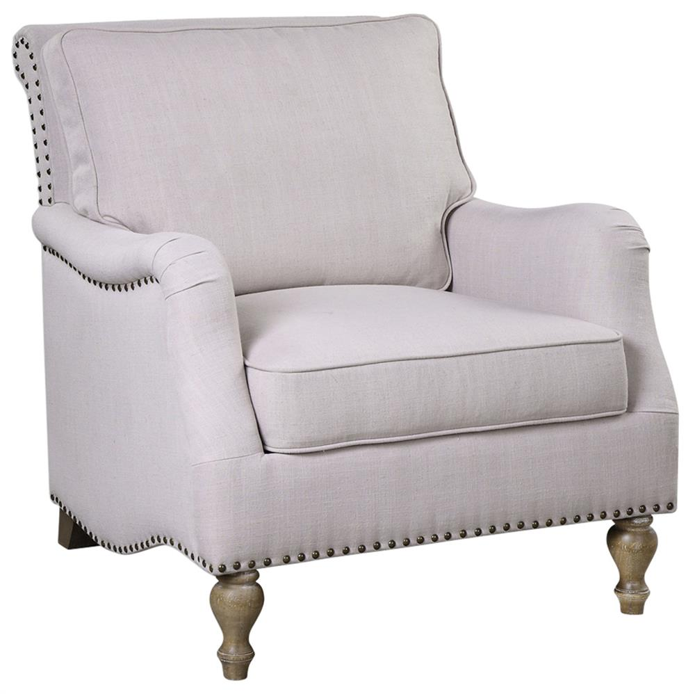 Elise French Country Antique White Antique Brass Armchair ...