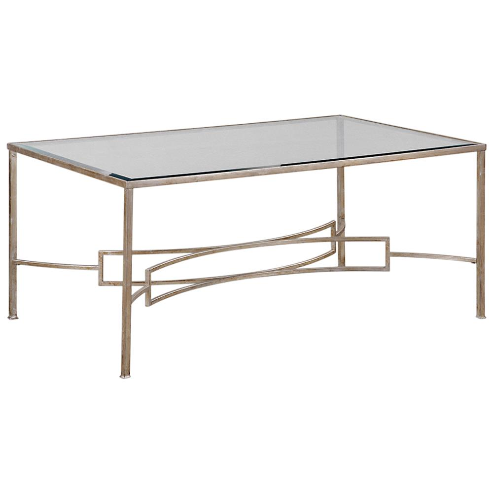 Glass And Silver Square Coffee Table: Endora Hollywood Regency Silver Leaf Glass Coffee Table