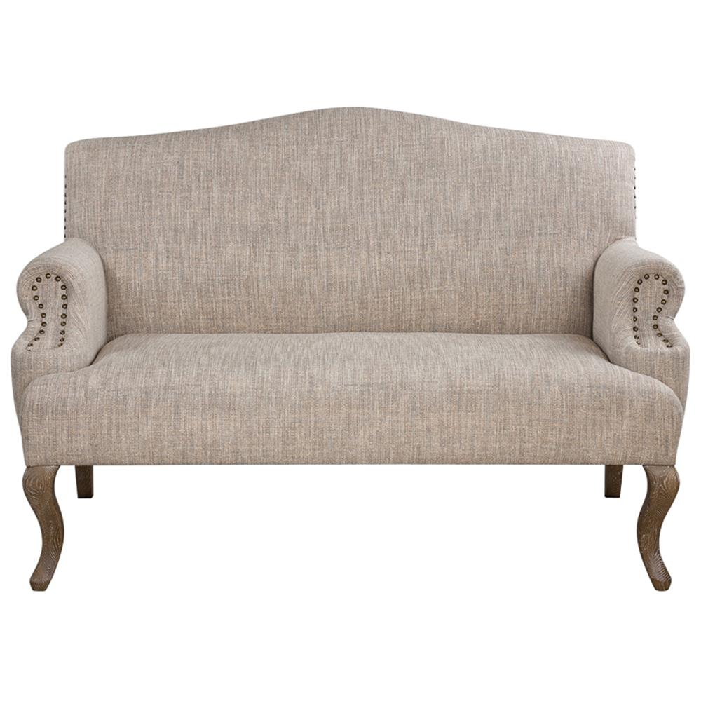 Deneva French Country Rustic Beige Cabriole Loveseat Kathy Kuo Home