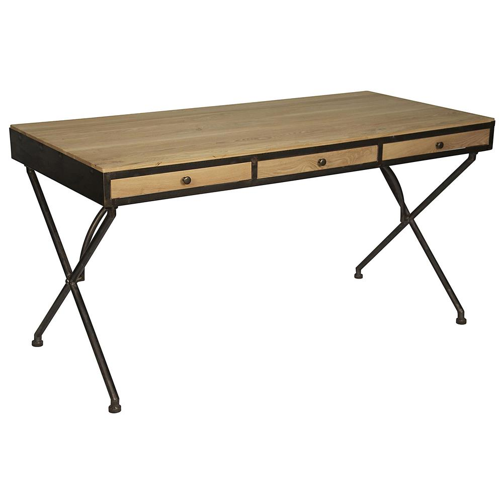 Benny rustic industrial natural wood dark metal desk