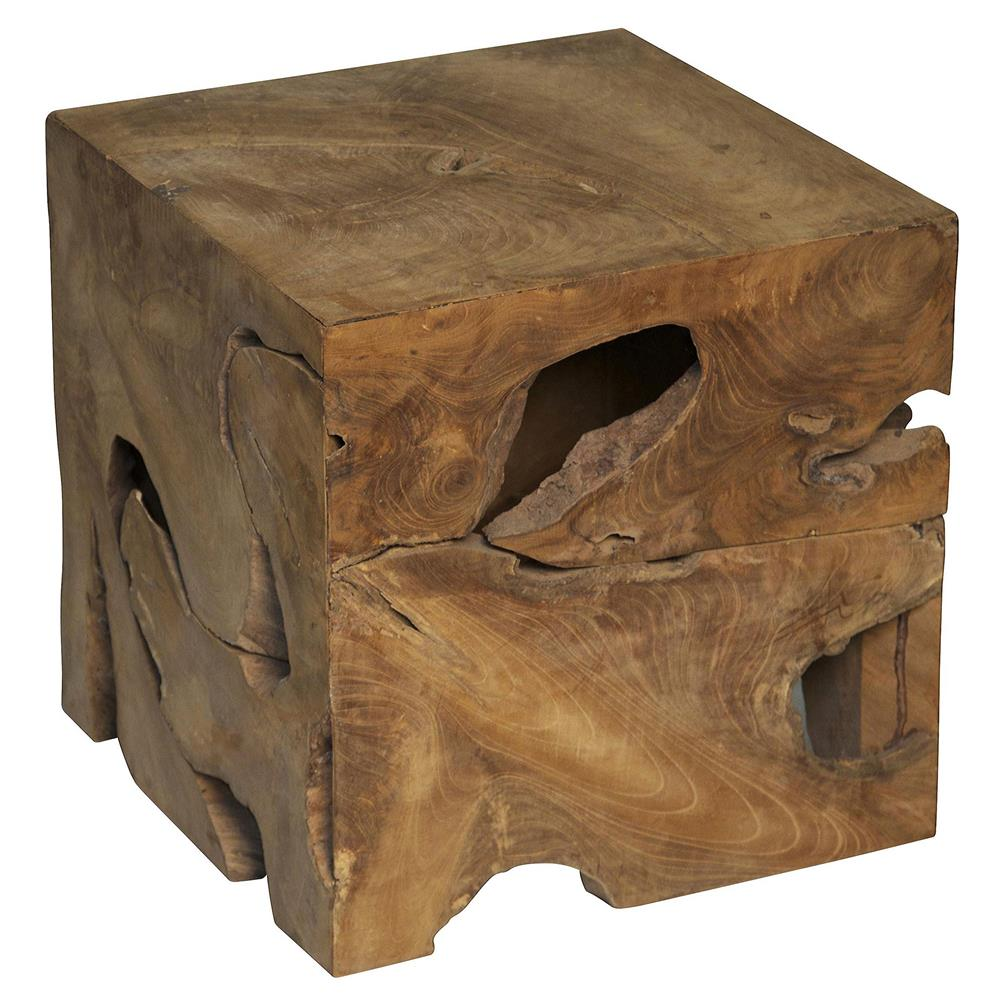 Rolando Rustic Lodge Teak Wood Cube Side Table