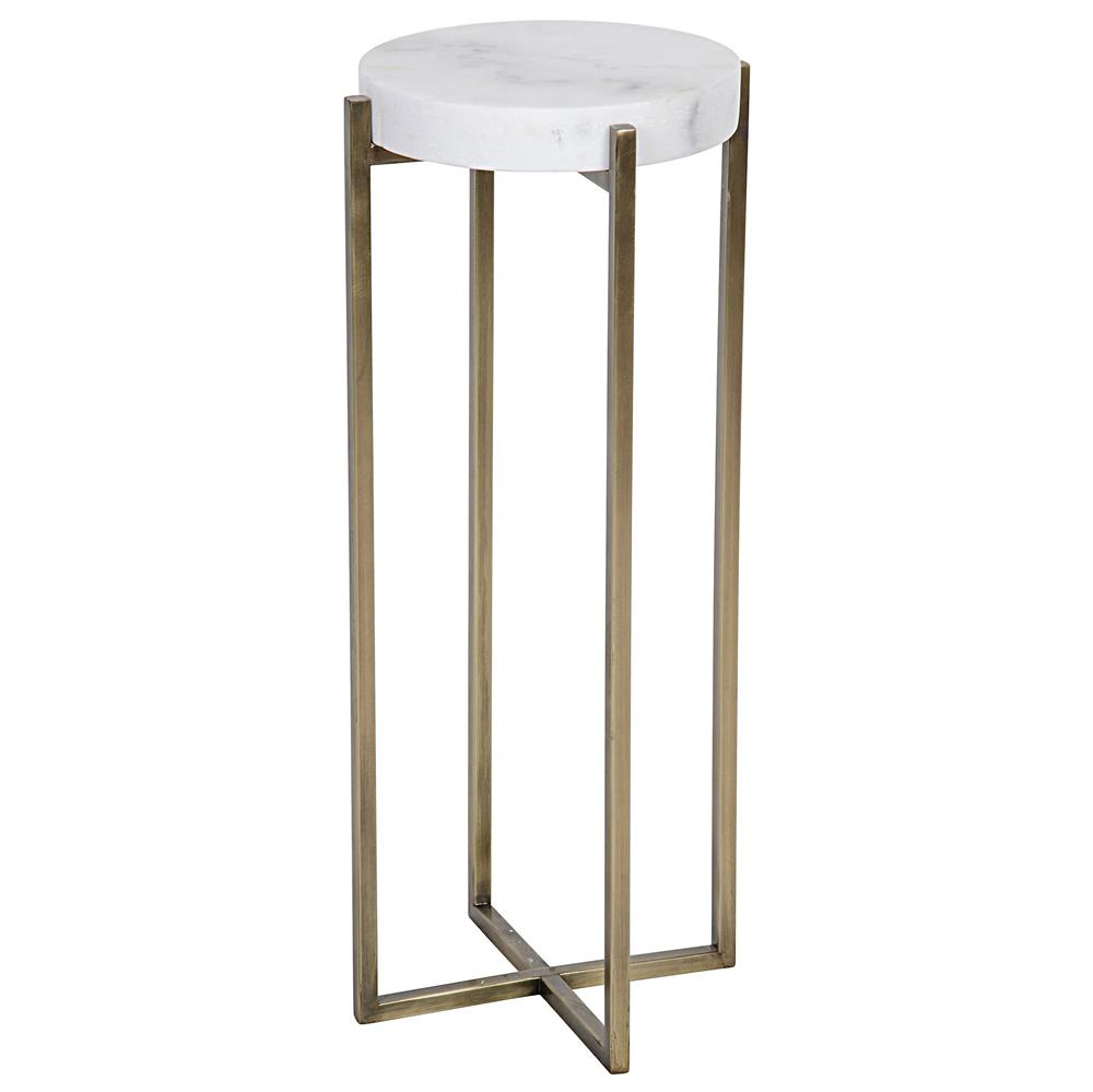 round side table. Alexia Hollywood Regency Quartz Antique Brass Round Side Table | Kathy Kuo Home