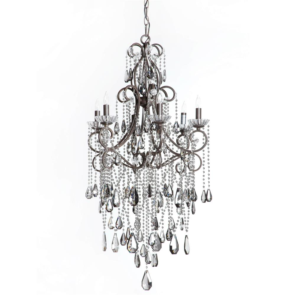 Kristiana French Country Crystal Smoke 6 Light Chandelier | Kathy ...