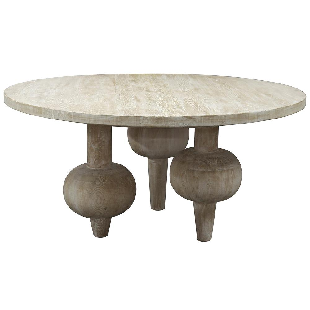 Vern modern classic orb reclaimed wood round dining table for Modern round dining table