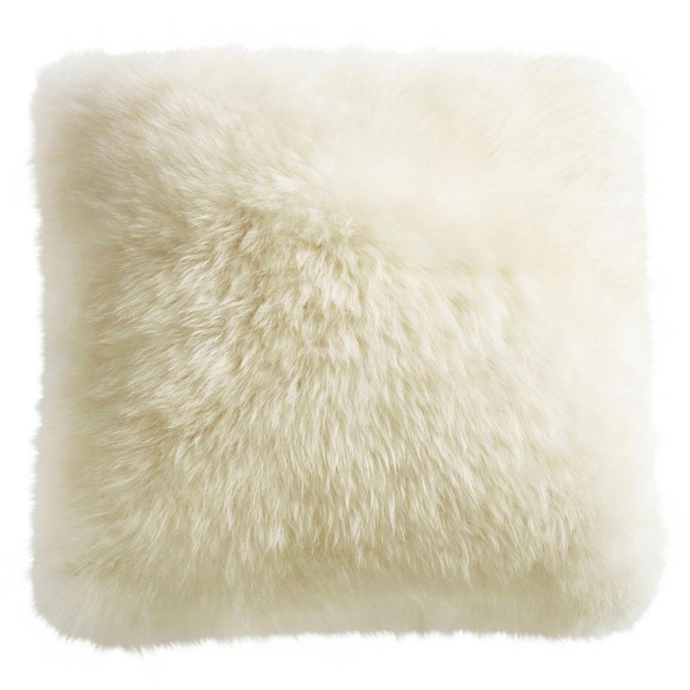 mildred modern ivory long wool fur floor pillow 32x32