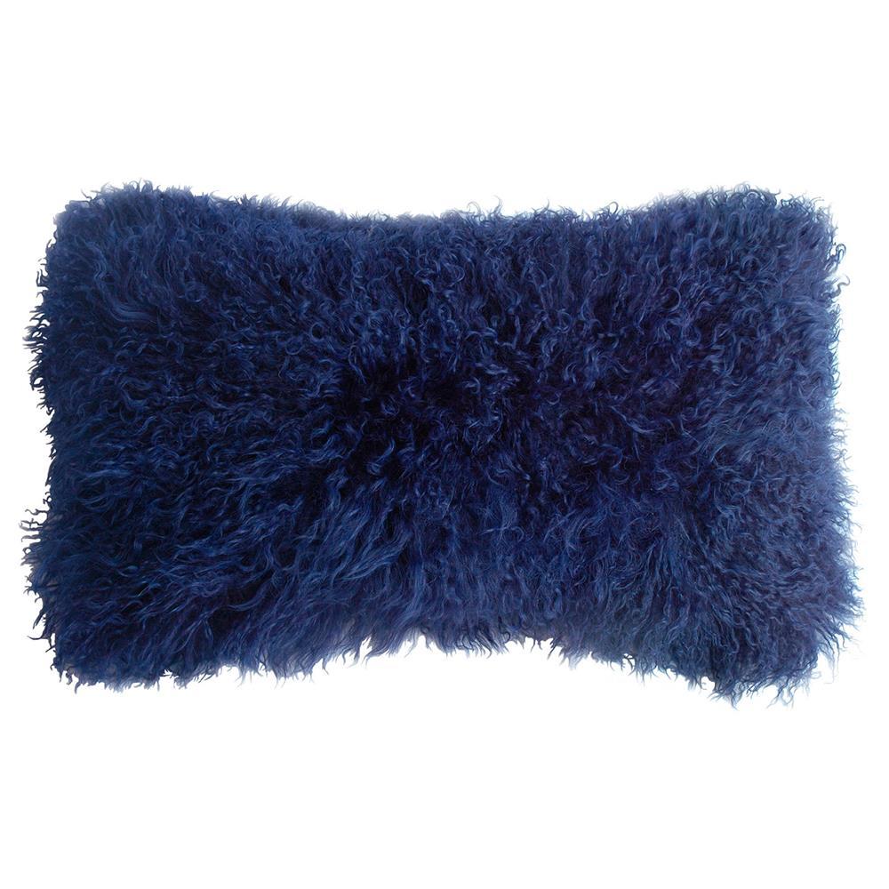 Shansi Royal Blue Tibetan Long Wool Lumbar Pillow 11x22