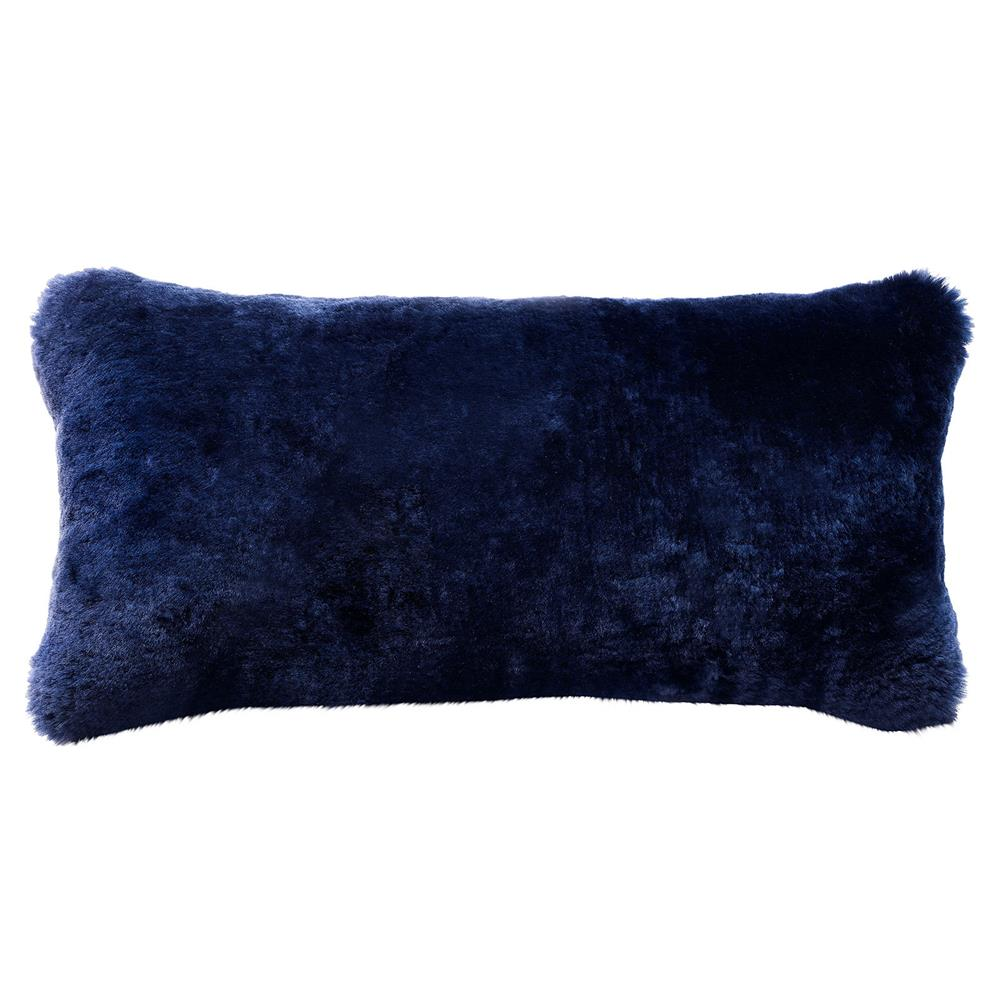 Argali Modern Navy Short Sheepskin Fur Lumbar Pillow 11x22