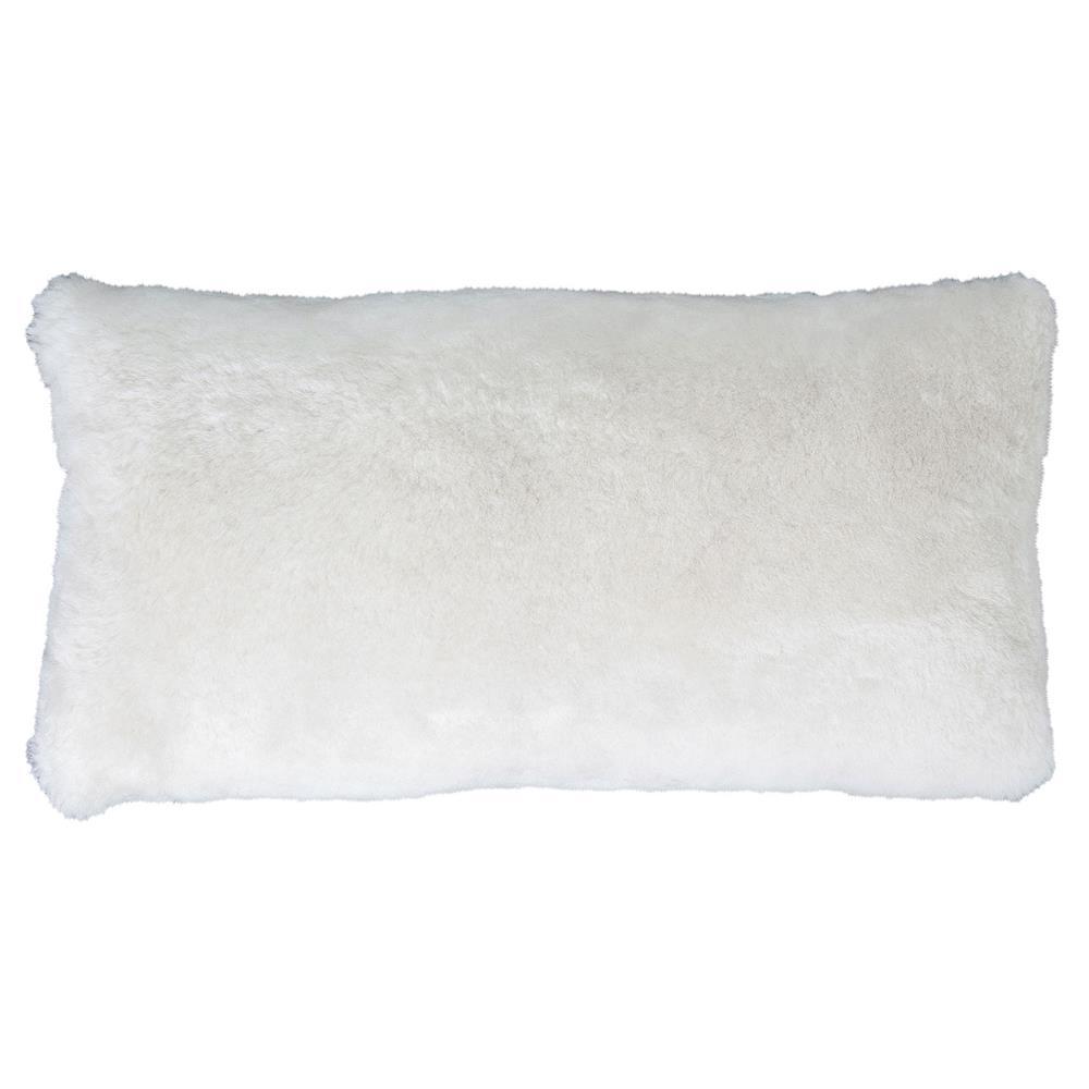 Modern Lumbar Pillow : Argali Modern Pearl Short Sheepskin Lumbar Pillow -11x22 Kathy Kuo Home