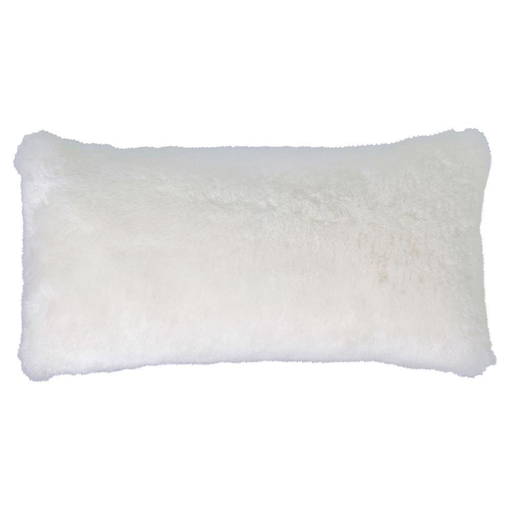 Modern White Pillow : Argali Modern White Short Sheepskin Fur Lumbar Pillow -11x22 Kathy Kuo Home