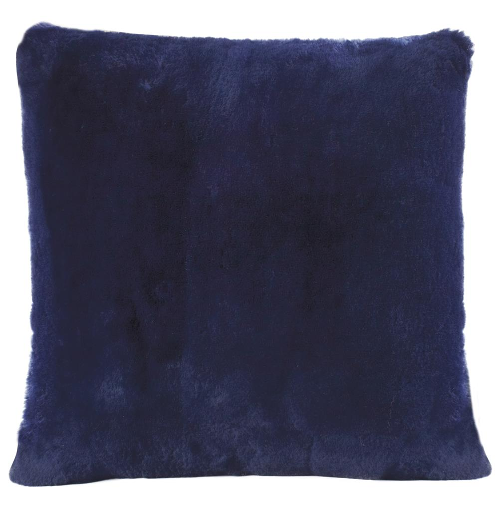 Argali Modern Navy Short Wool Sheepskin Fur Pillow - 22x22 Kathy Kuo Home