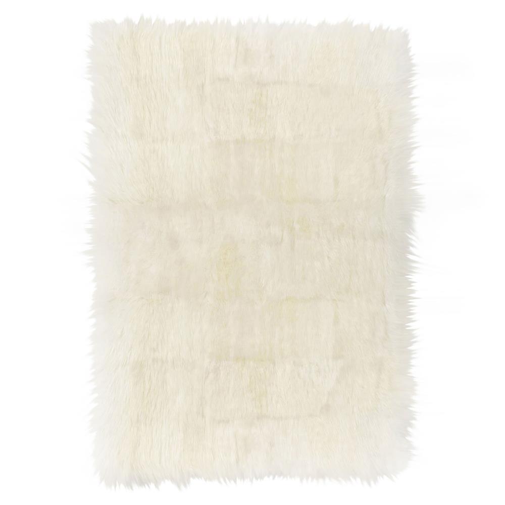 Turan Modern Ivory Long Wool Sheepskin Fur Rug