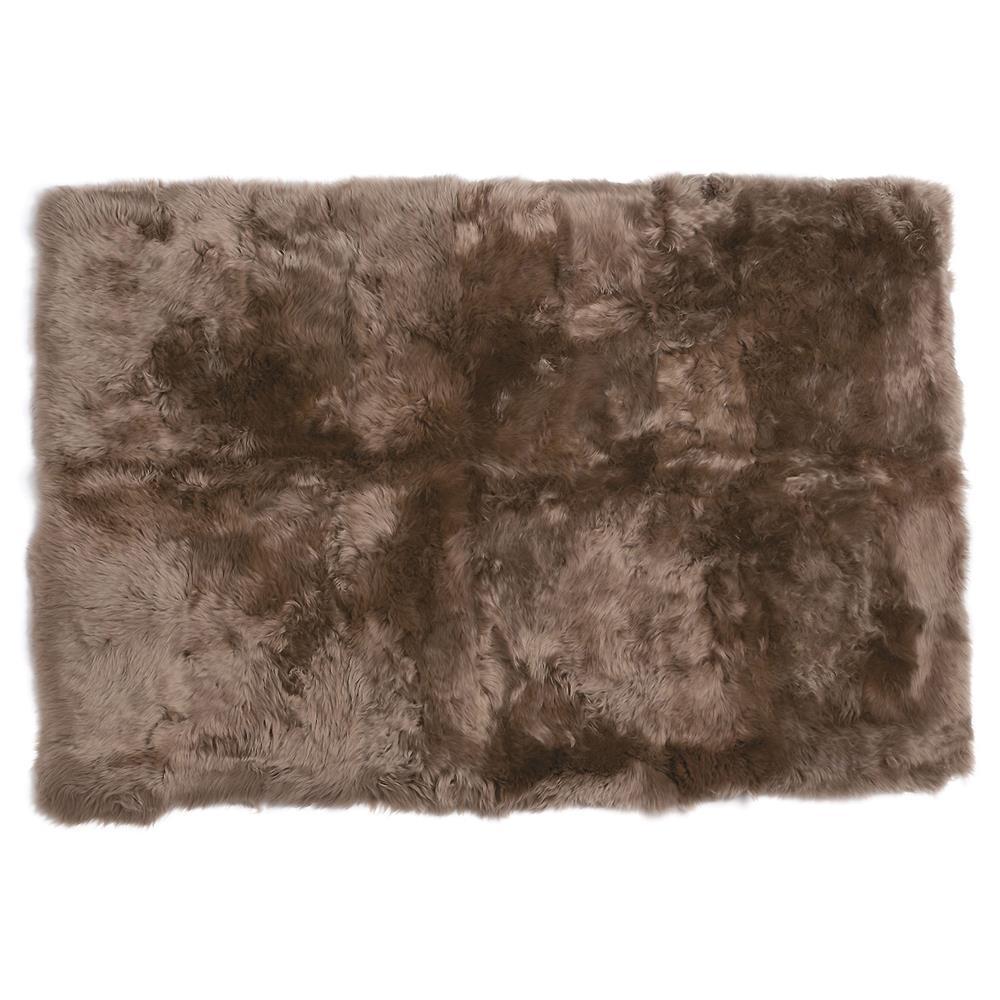 Turan Modern Taupe Long Wool Sheepskin Fur Rug
