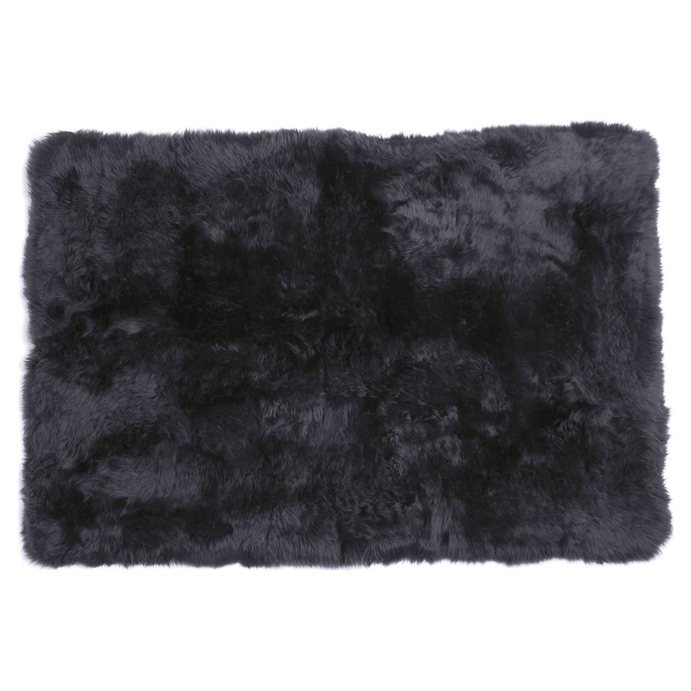 Turan Modern Black Long Wool Sheepskin Fur Rug