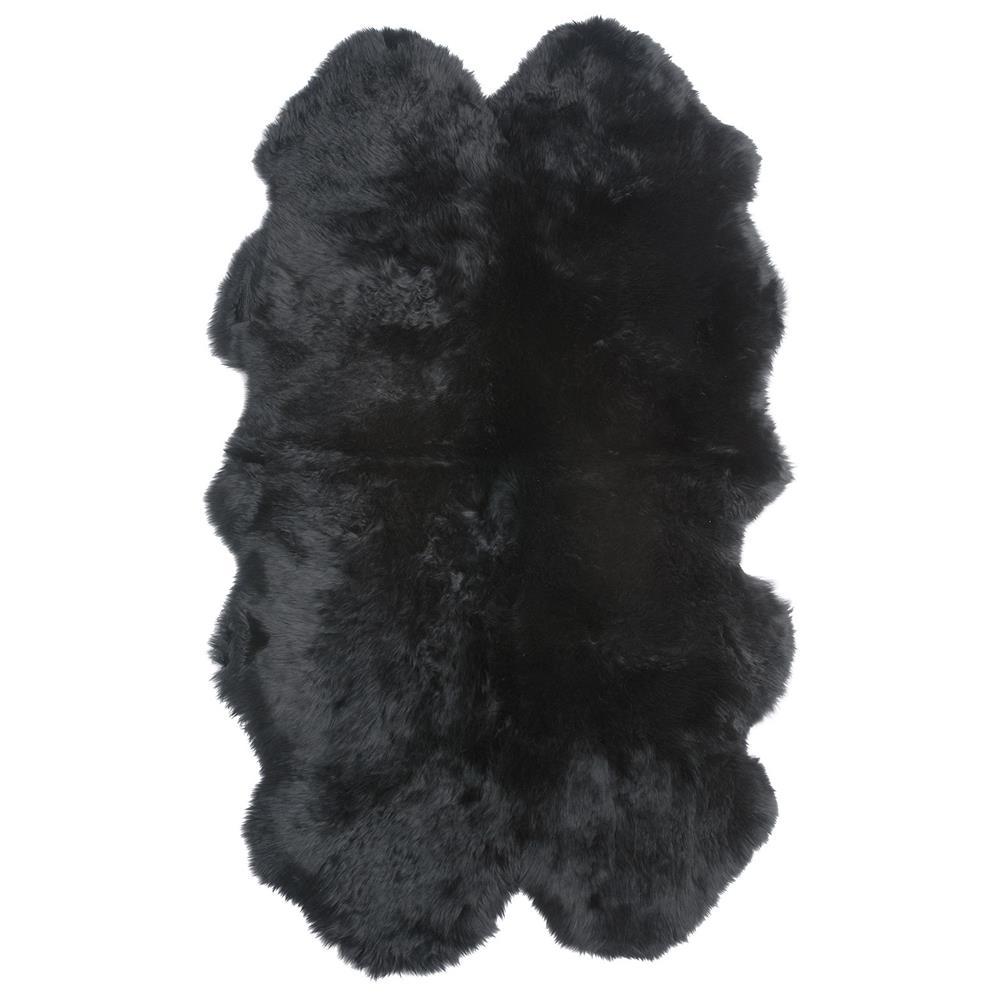 Veruca Modern Midnight Black Sheepskin 4 Pelt Fur Rug