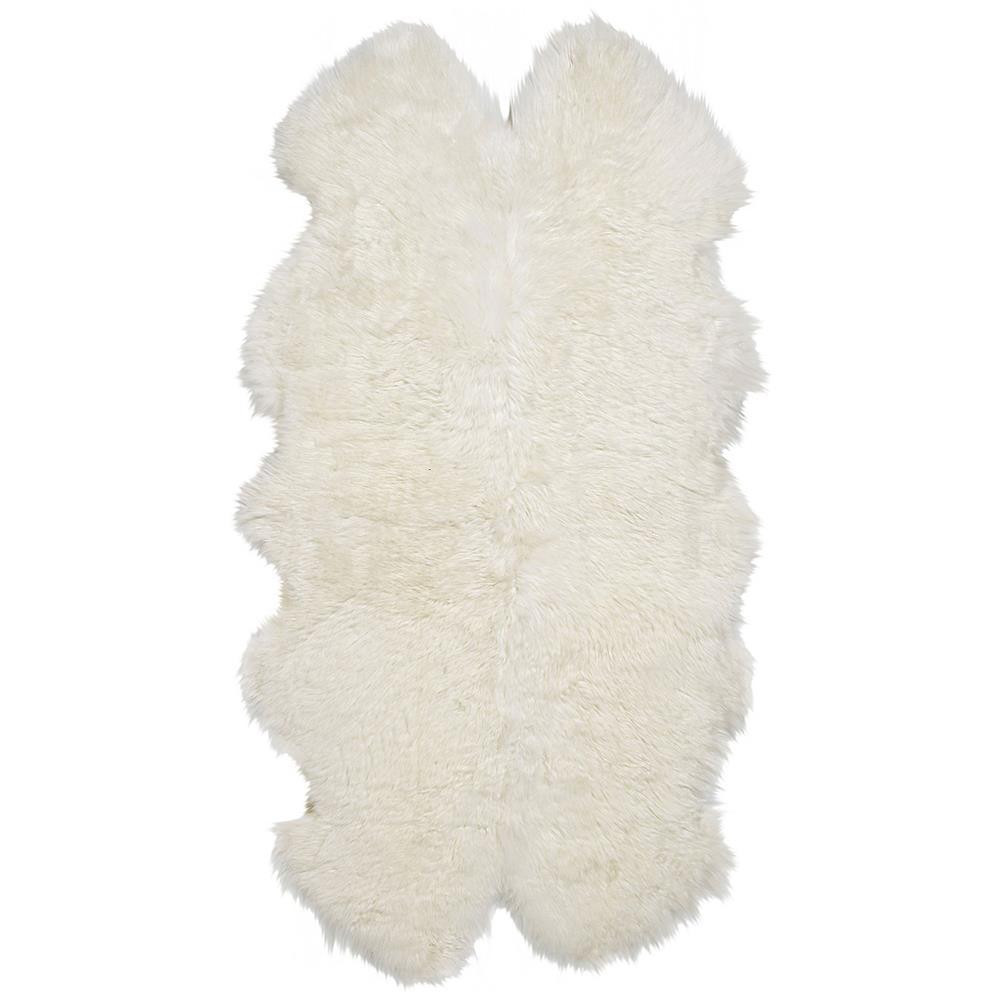 Veruca Modern Ivory Sheepskin 4 Pelt Fur Rug