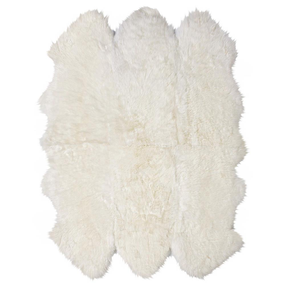 Veruca modern ivory sheepskin 6 pelt fur rug kathy kuo home for Fur rugs