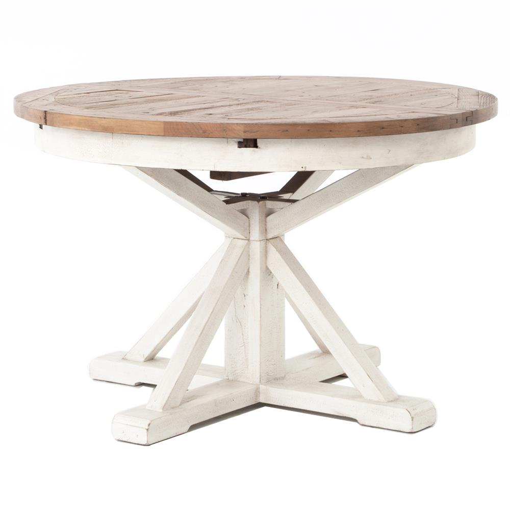 barnes modern classic round wood whitewash extension dining table 48 63 inch kathy kuo home - Dining Table Round Wood