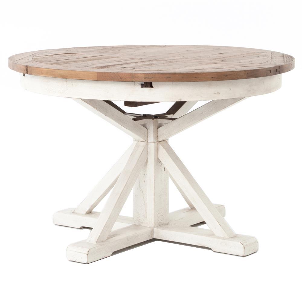 Barnes modern classic round wood whitewash extension for Whitewash kitchen table