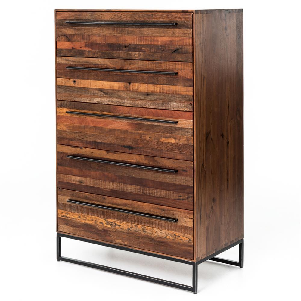 Brogan modern classic reclaimed wood iron five drawer dresser for Reclaimed wood furniture modern
