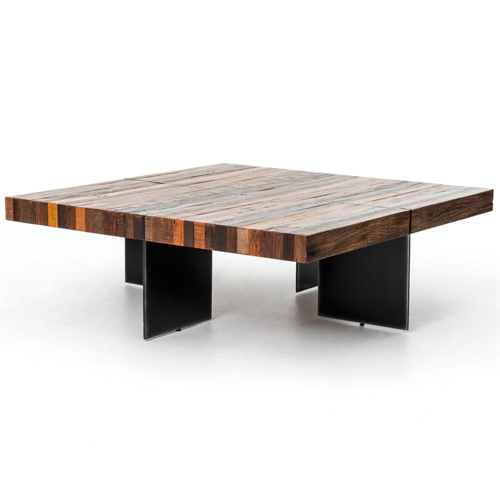 Dayle rustic lodge chunky square wood iron coffee table kathy kuo home Wood square coffee tables