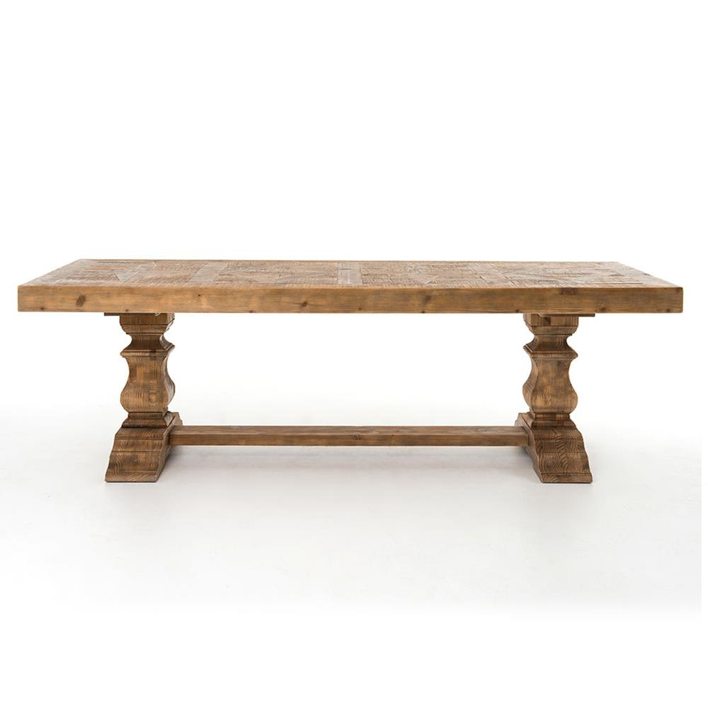 Dining Tables Ellicott Rustic Lodge Bleached Pine Trestle Dining Table