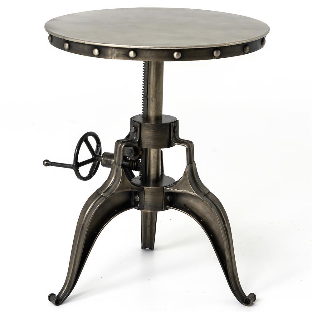 Fronzoni industrial loft antique nickel crank side table for Vintage crank table