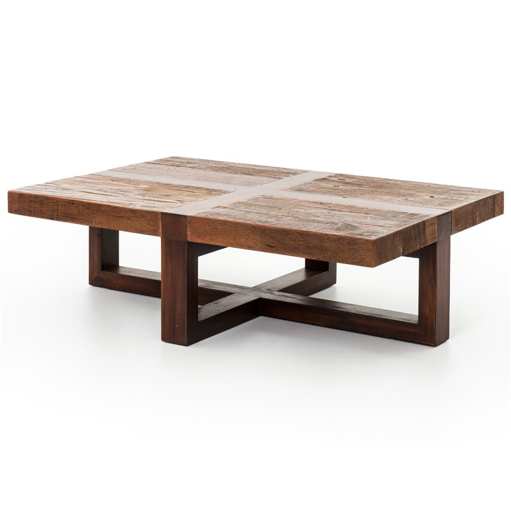 Grange rustic lodge natural wood cross top coffee table kathy kuo home Rustic wooden coffee tables