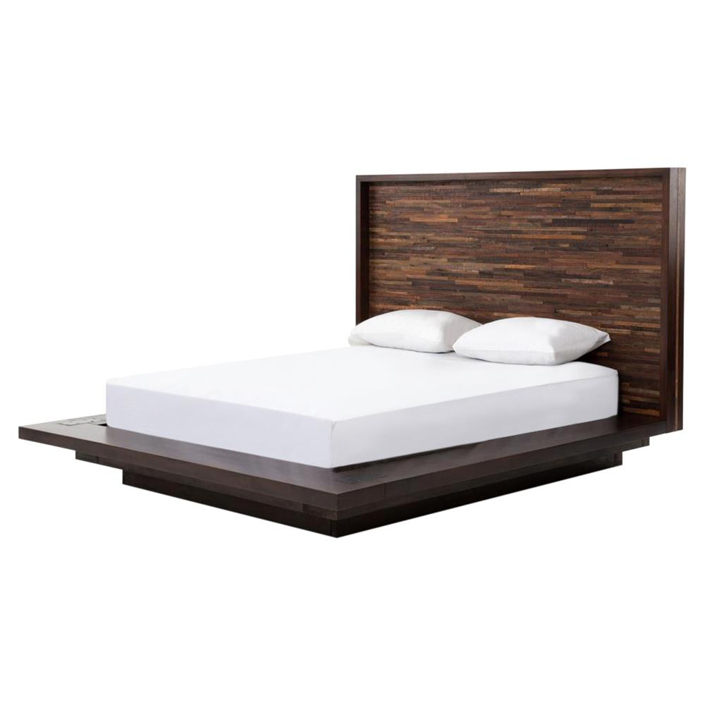 Larson modern classic variegated wood headboard platform for Gourmet furniture bed design