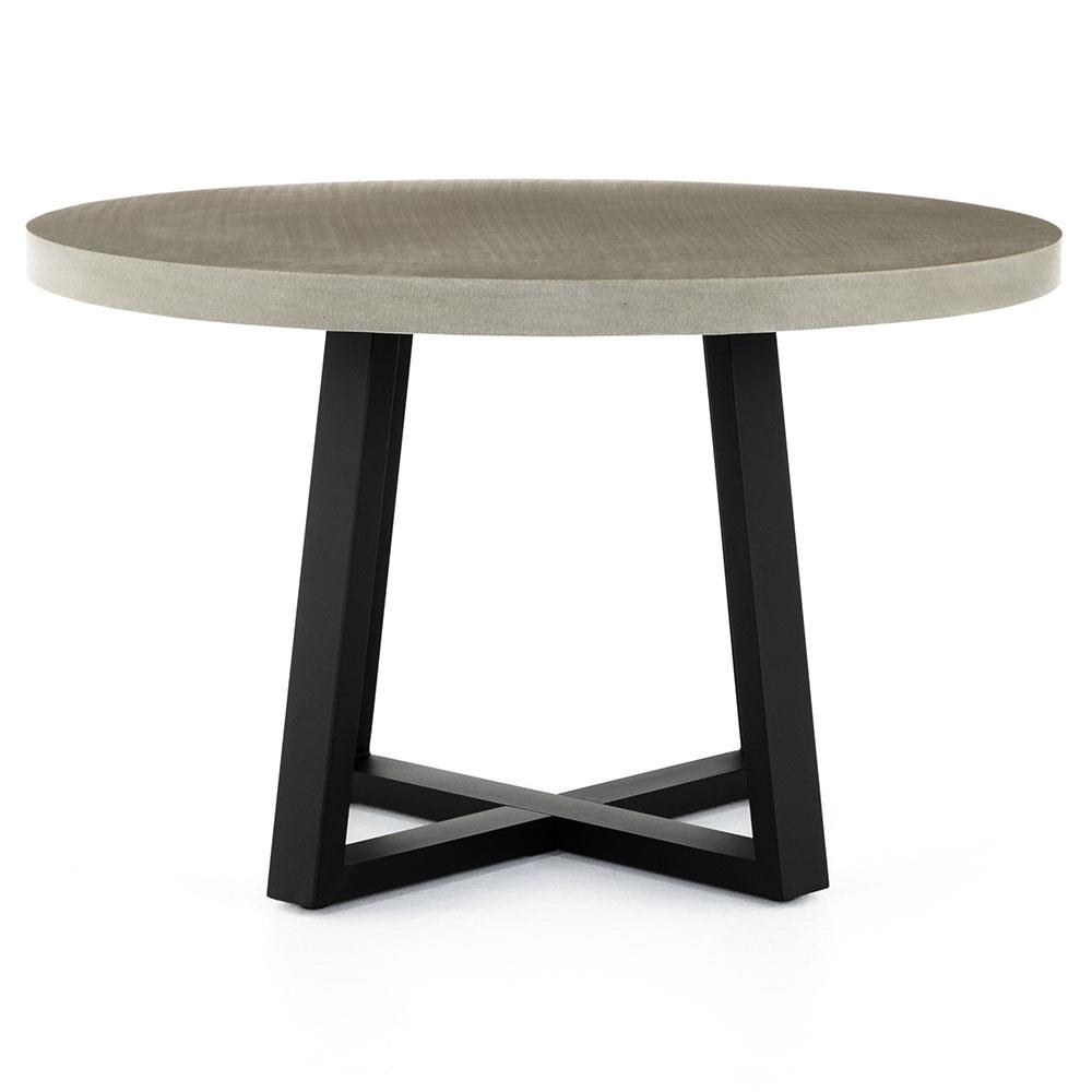 Maceo modern classic round composite stone metal dining for Contemporary round dining table