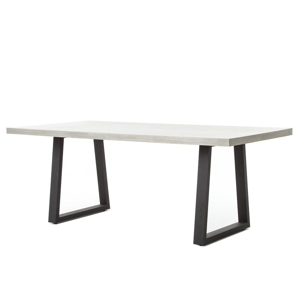 Maceo Modern Classic Rectangular Concrete Metal Dining Table Inch - Concrete and metal dining table