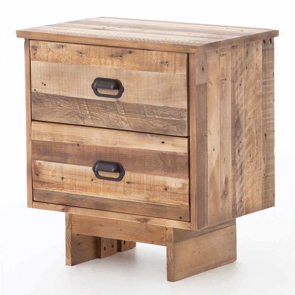 Quentin rustic lodge reclaimed wood two drawer nightstand for Rustic nightstands