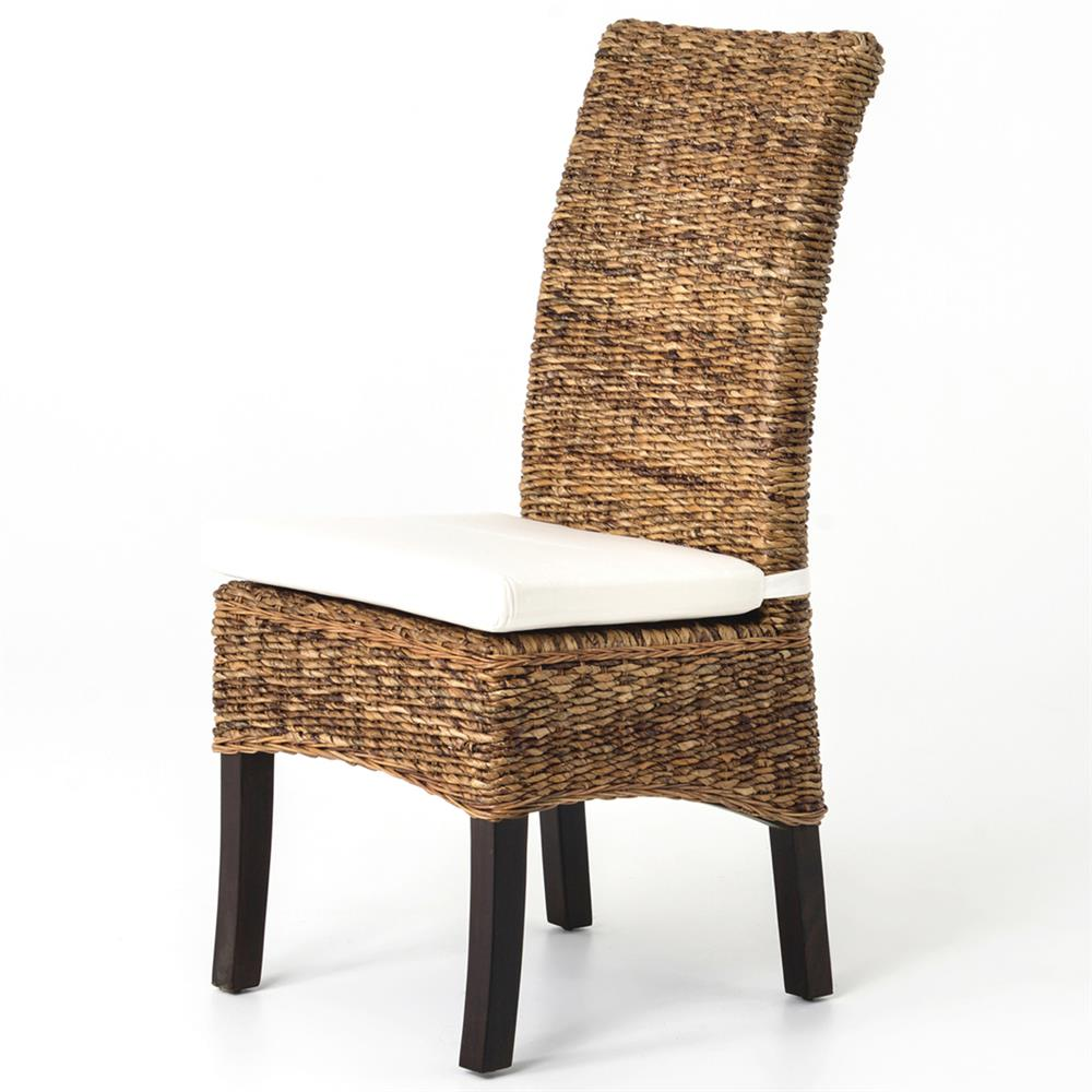 Sisson Modern Woven Banana Leaf Brown Wood Side Chairs Pair Kathy Kuo Home