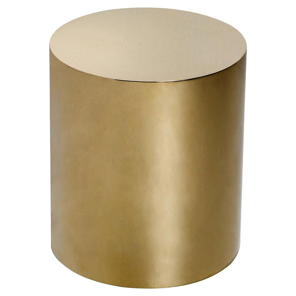 Ajax Modern Classic Polished Brass Cylinder Side Table