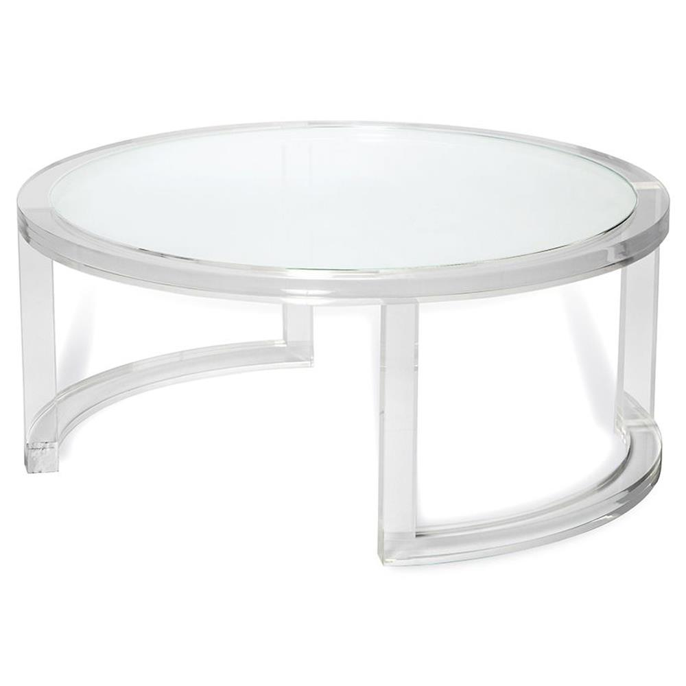 Ava modern round clear glass acrylic coffee table kathy kuo home Acrylic clear coffee table