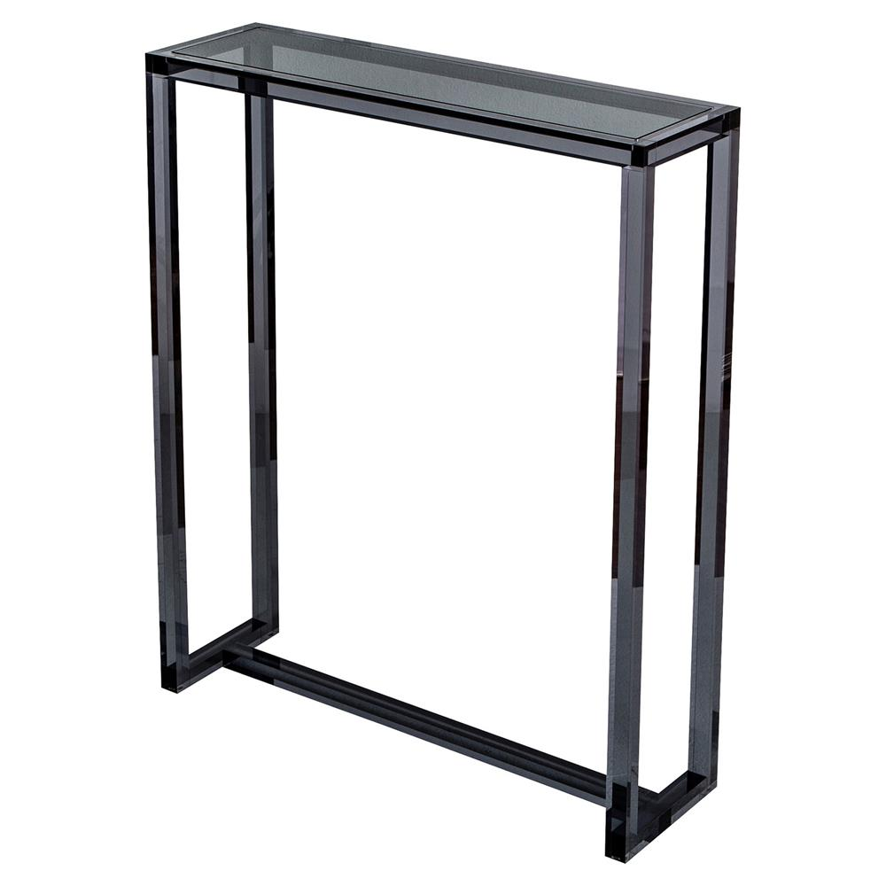 Ava modern tall narrow smoke grey acrylic console table for Tall console table