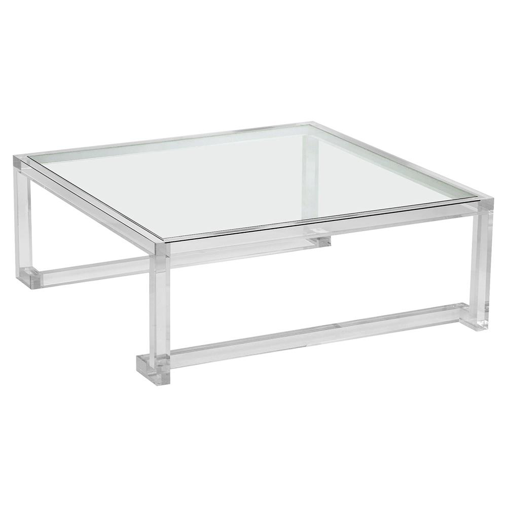 Interlude Ava Grand Modern Acrylic Square Coffee Table